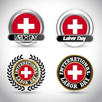 Switzerland flag with labour day design vector