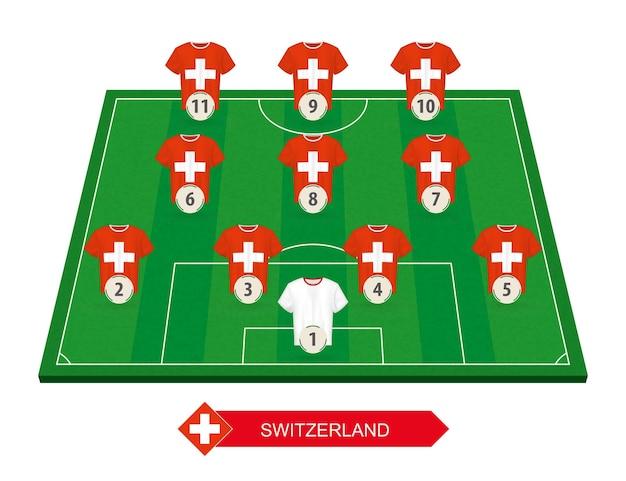 유럽 축구 대회 축구장에 스위스 축구 팀 라인업