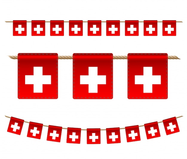 Switzerland garland flag on white background, hang bunting for switzerland celebration template