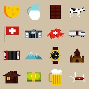 Switzerland icons set