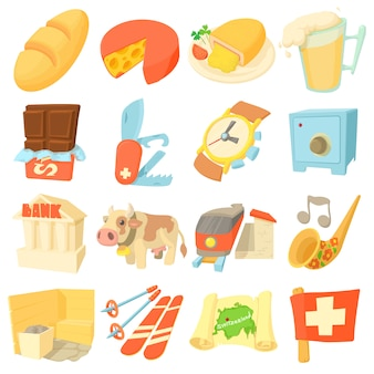 Switzerland itravel icons set