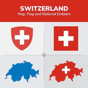 Switzerland map, flag and national emblem