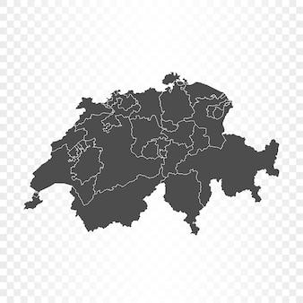 스위스지도 격리 된 렌더링