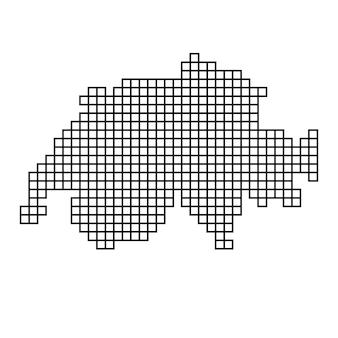 Швейцария карта силуэт из мозаики черный узор структуры квадратов. векторная иллюстрация.