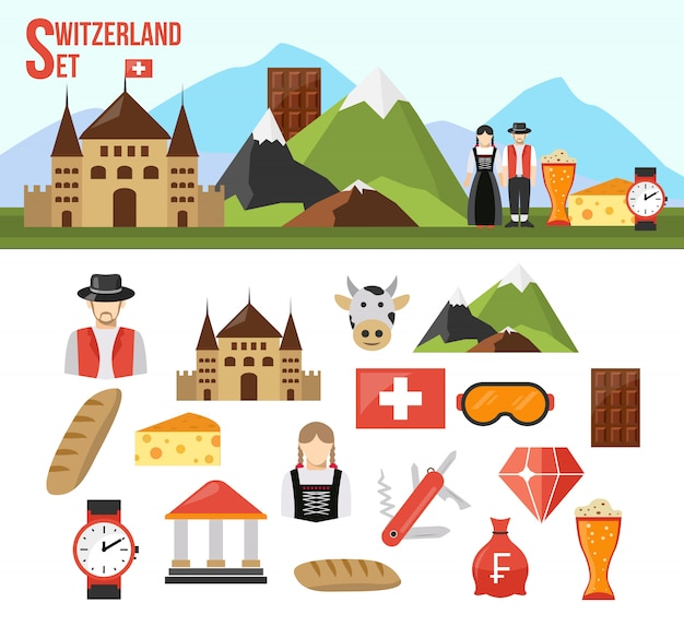 Switzerland symbols set