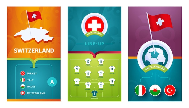Switzerland team european   football vertical banner set for social media. switzerland group a banner with isometric map, pin flag, match schedule and line-up on soccer field