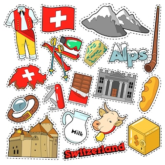 Switzerland travel scrapbook stickers, patches, badges for prints with alps, money and swiss elements. comic style  doodle