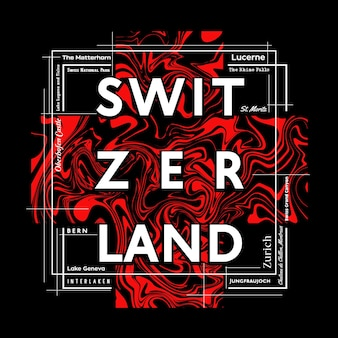 Switzerland tshirt and poster graphic design in abstract style vector illustration