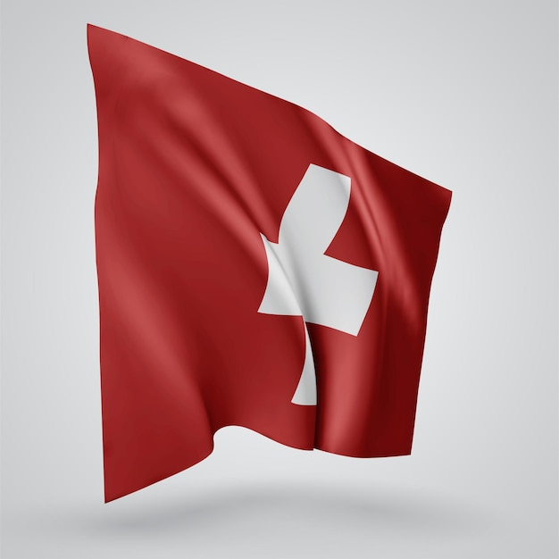 Switzerland, vector flag with waves and bends waving in the wind on a white background.