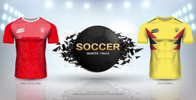 스위스 vs 콜롬비아 축구 유니폼 템플릿.