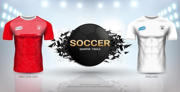 스위스 vs 잉글랜드 축구 저지 템플릿.