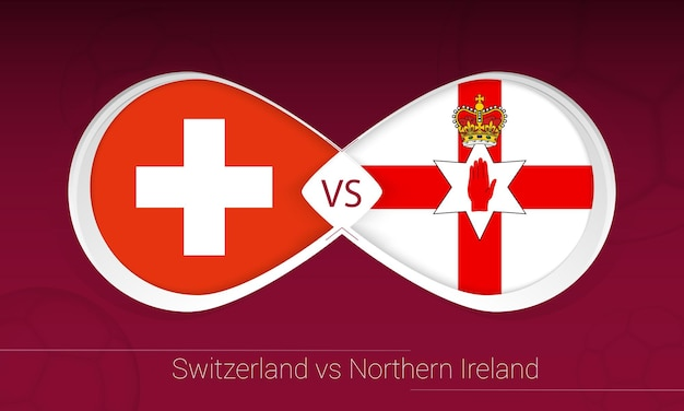 Switzerland vs northern ireland in football competition, group c. versus icon on football background.