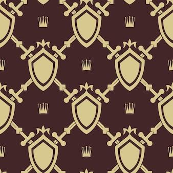 剣と盾のシームレスなパターン。戦争のシンボル、戦いと武器、