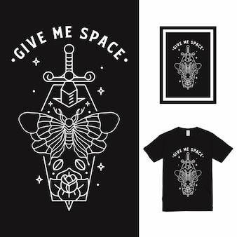 Дизайн футболки sword butterfly line art