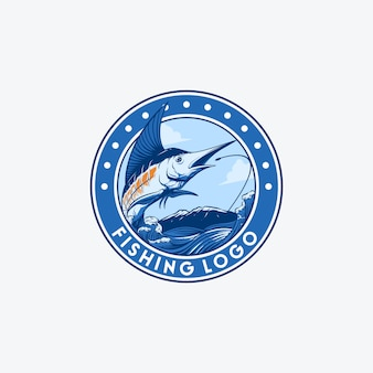 Sword fish fishing logo