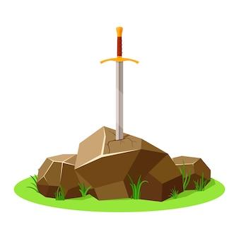 石の剣。アーサー王の剣、伝説のエクスカリバー。中世の武器と岩。