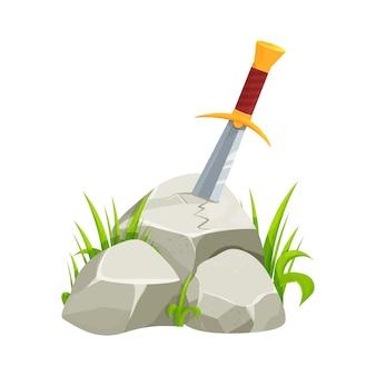 흰색 배경에 고립 된 만화 스타일의 돌 중세 신화의 칼