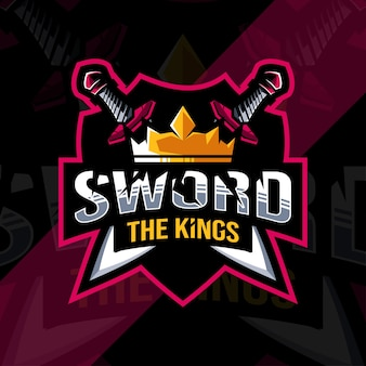 The sword king mascot logo esports design template