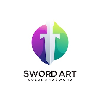 Меч логотип красочный градиент абстрактный