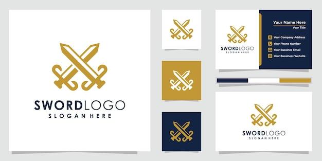 刀のロゴデザイン刀のロゴと名刺のデザイン。