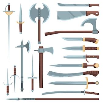 Меч средневековое древнее оружие рыцаря с острым лезвием и пиратский нож иллюстрация палаш набор стальной старый воин оружия, изолированных на белом фоне
