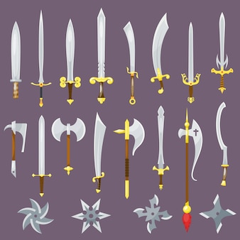 Sword medieval weapon of knight with sharp blade and pirates knife broadsword set