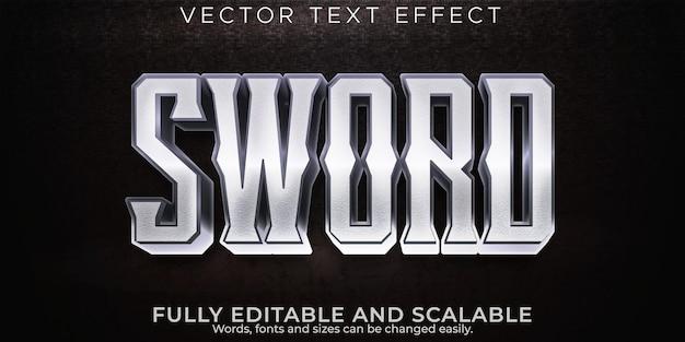 Меч металлический текстовый эффект редактируемый стиль текста воин и рыцарь