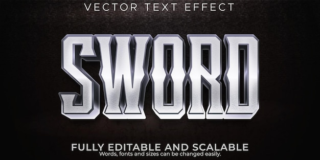 Sword metallic text effect editable warrior and knight text style