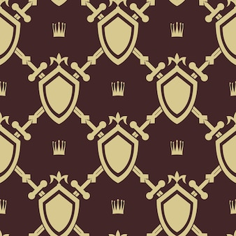 Sword and shield seamless pattern. war symbol, battle and weapon,