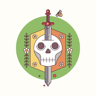 Sword and skull in badge floral circle vector illustration