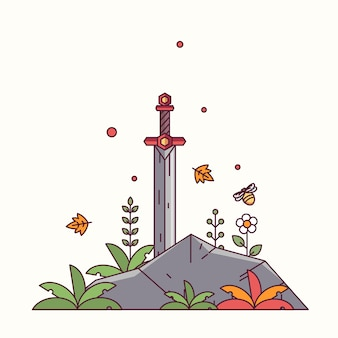 Sword in the stone vector illustration
