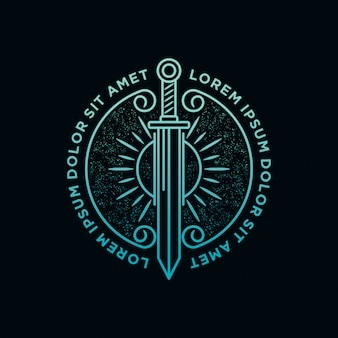 Sword and sun light logo
