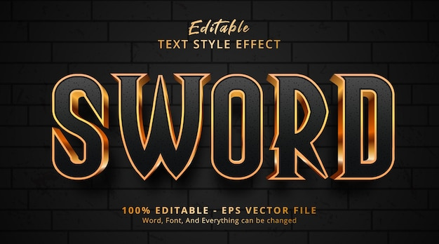 Sword text on movie style effect, editable text effect