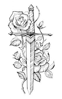 バラの剣。タトゥースケッチ。手描きイラスト。白い背景に分離します。