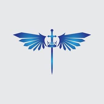 날개와 왕 벡터 이미지와 칼