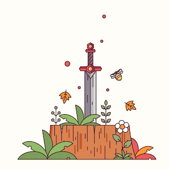 Sword in the wood vector illustration