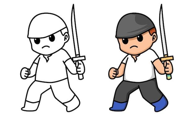 아이들을 위한 검을 들고 있는 검객 색칠하기