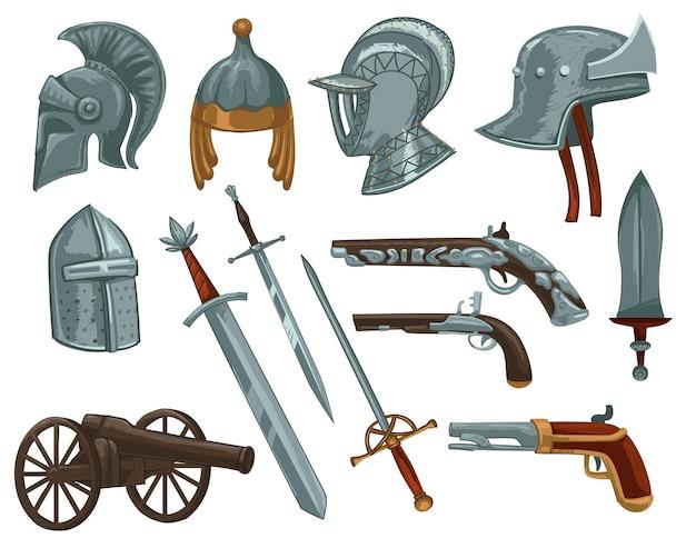 기사와 군대의 군인을 위한 검과 무기, 갑옷과 권총. 싸움과 전투, 왕국을 보호합니다. 금속 헬멧과 단검, 창 및 오래된 빈티지 복고 총. 평면 스타일의 벡터