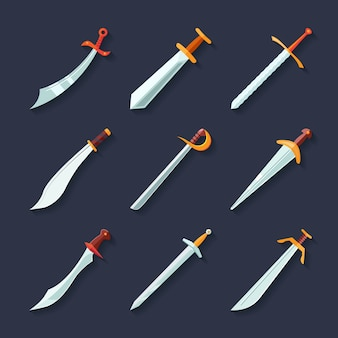 Swords knives daggers sharp blades flat icon set isolated vector illustration
