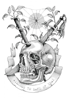 Swords and nails are inserted into the skull in the deserted land. engraving illustration vintage style for tattoo art.