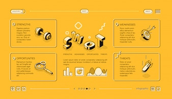 Swot analysis business illustration in isometric thin line design on yellow halftone