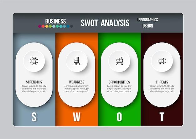 Swot 分析ビジネスまたはマーケティング インフォ グラフィック テンプレート