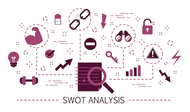 Swot analysis concept. strengths, weaknesses and threats