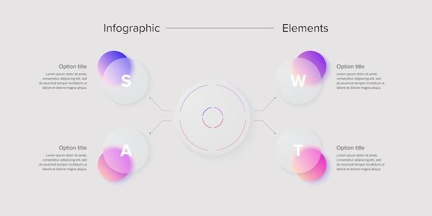 Swot-анализ инфографики циркулярное корпоративное стратегическое планирование графические элементы шаблон слайда презентации компании
