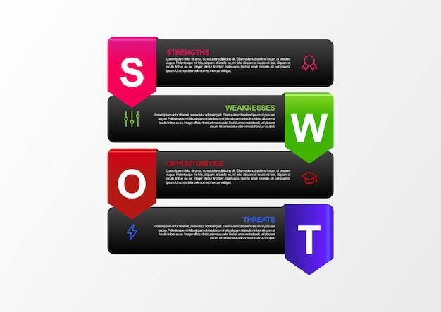 Swot analysis infographic with flat design of 4 monotone color in vector. modern swot analysis banner with world map