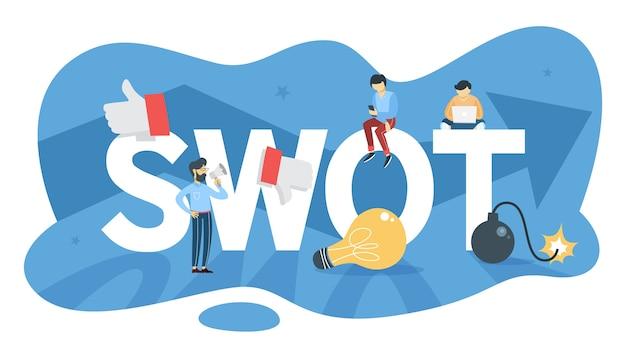 Анализ swot. сила и слабость, угрозы и возможности. маркетинговая стратегия и бизнес-планирование. иллюстрация