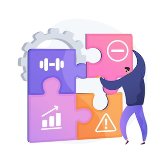 Swot分析。長所と短所、脅威と機会の評価、プロジェクトの成功の評価。企業活動を計画している危機管理者。ベクトル分離概念比喩イラスト