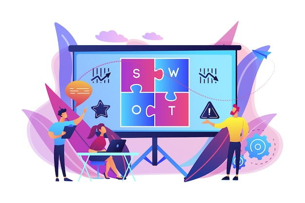 Swot analysis team working on list of your opportunities, strategizing and monitoring. swot analysis and matrix, strategic planning concept. bright vibrant violet  isolated illustration
