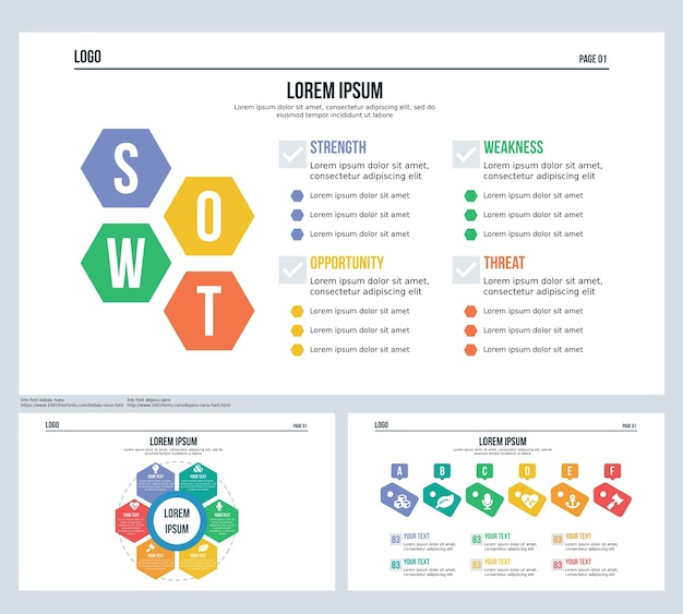 Swot, badge, hexagonal set presentation slide and powerpoint template