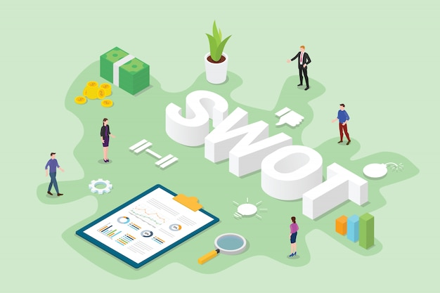 Swot business analysis concept with team people office with flat modern isometric style
